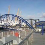 Millennium Dome Pier – 90 metre x 15 metre tubular steel pontoon with galvanised steel and recycled plastic plank decking. Client Costain